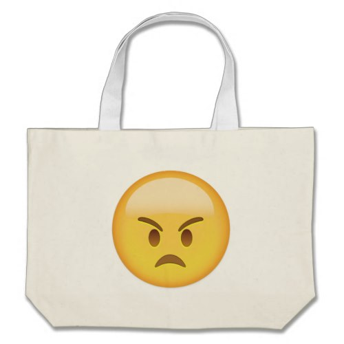 Angry Face Emoji Large Tote Bag
