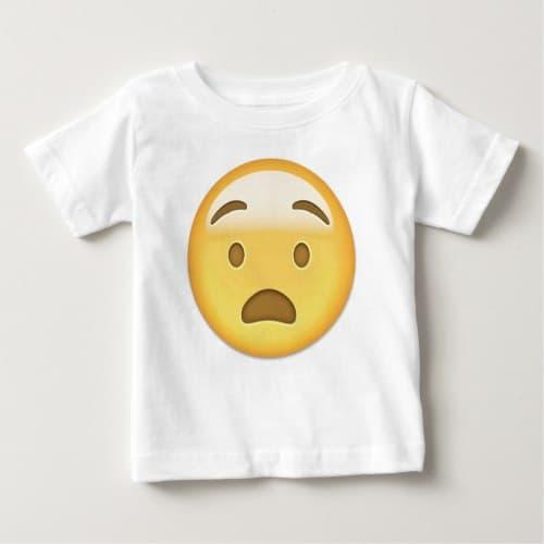 Anguished Face Emoji Baby T-Shirt
