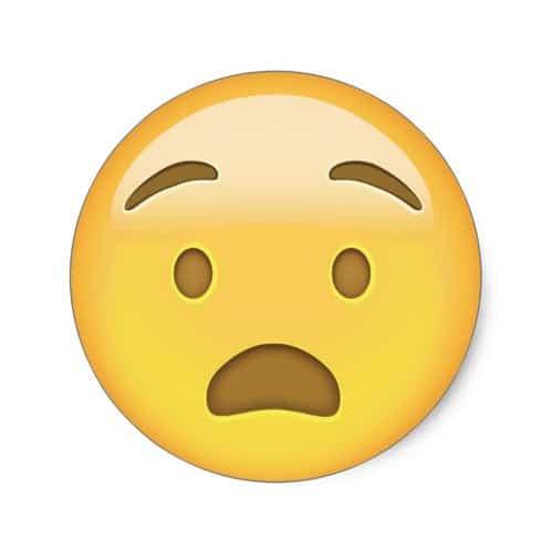 Anguished Face Emoji Classic Round Sticker