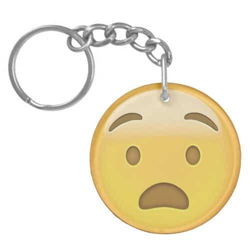 Anguished Face Emoji Keychain
