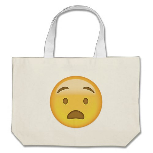 Anguished Face Emoji Large Tote Bag