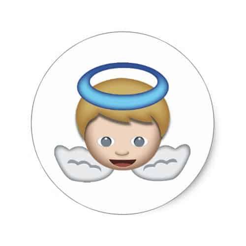 Baby Angel Emoji Classic Round Sticker