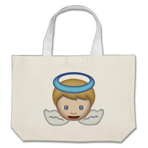 Baby Angel Emoji Large Tote Bag