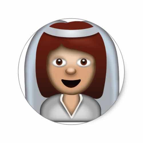 Bride With Veil Emoji Classic Round Sticker