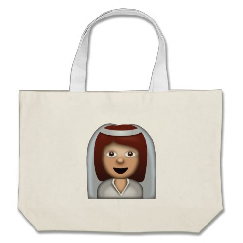 Bride With Veil Emoji Large Tote Bag