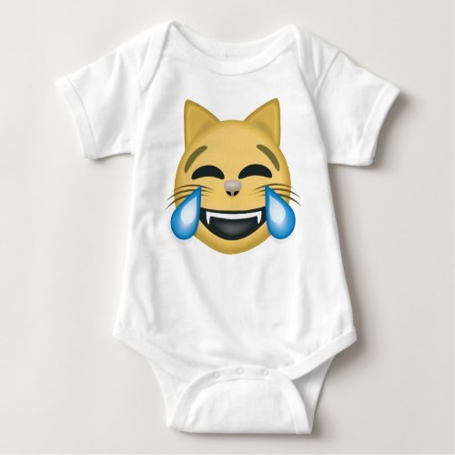 Cat Face With Tears Of Joy Emoji Baby Bodysuit
