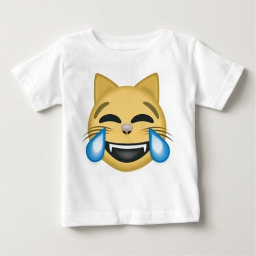 Cat Face With Tears Of Joy Emoji Baby T-Shirt