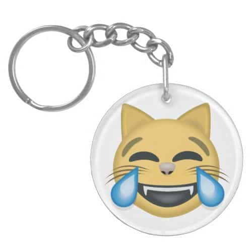 Cat Face With Tears Of Joy Emoji Keychain
