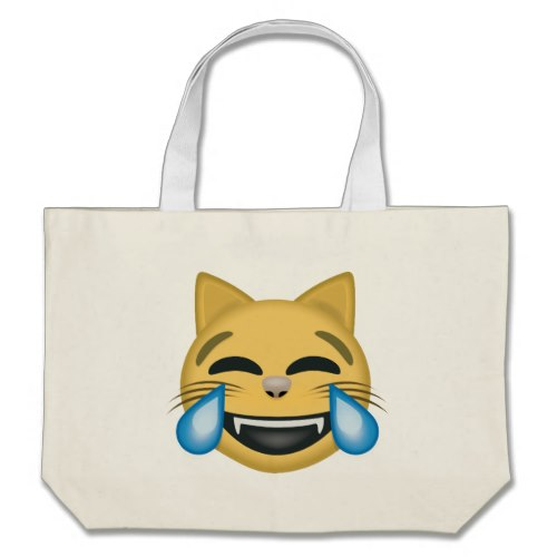 Cat Face With Tears Of Joy Emoji Large Tote Bag
