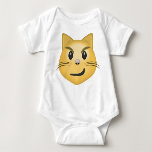 Cat Face With Wry Smile Emoji Baby Bodysuit