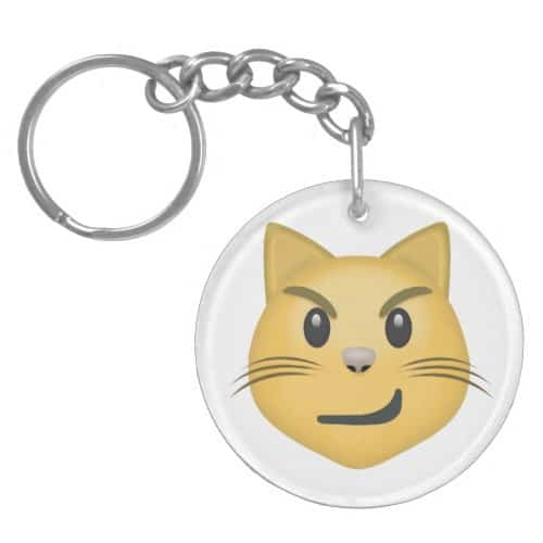 Cat Face With Wry Smile Emoji Keychain