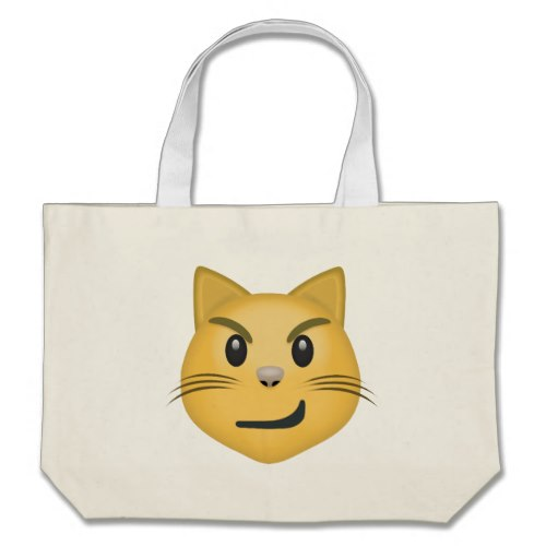 Cat Face With Wry Smile Emoji Large Tote Bag