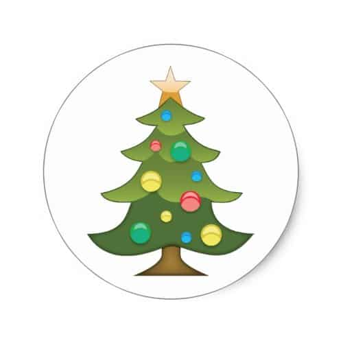Christmas Tree Emoji Classic Round Sticker