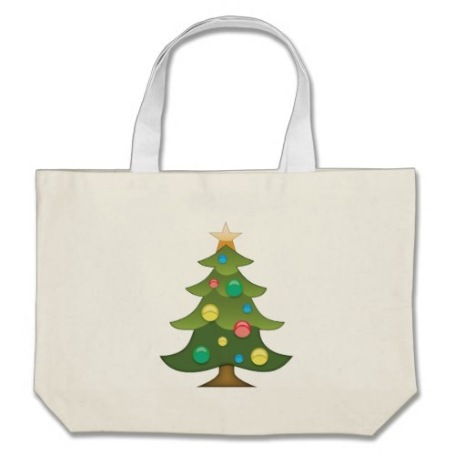 Christmas Tree Emoji Large Tote Bag