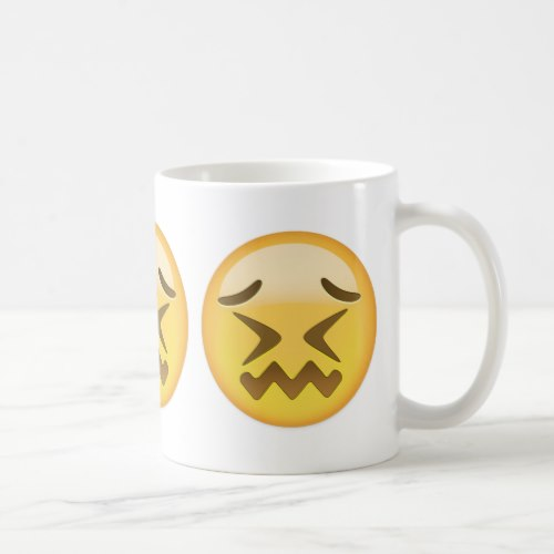 Confounded Face Emoji Coffee Mug