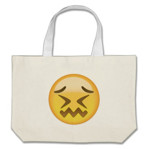 Confounded Face Emoji Large Tote Bag