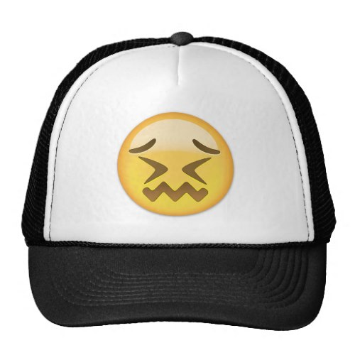 Confounded Face Emoji Trucker Hat