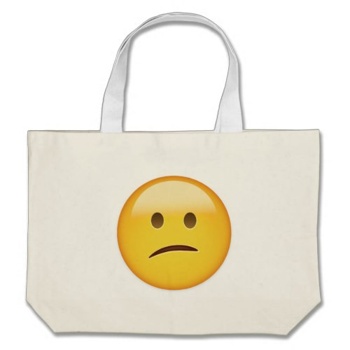 Confused Face Emoji Large Tote Bag