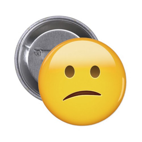 Confused Face Emoji Pinback Button