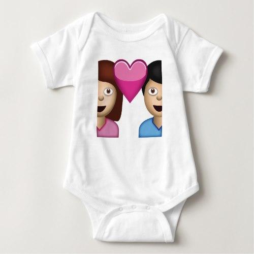 Couple With Heart Emoji Baby Bodysuit