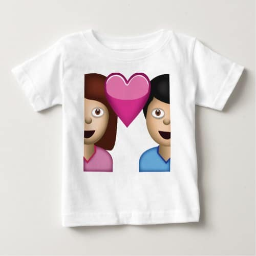 Couple With Heart Emoji Baby T-Shirt