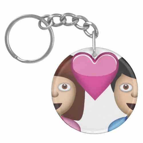 Couple With Heart Emoji Keychain