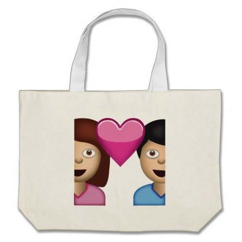 Couple With Heart Emoji Large Tote Bag