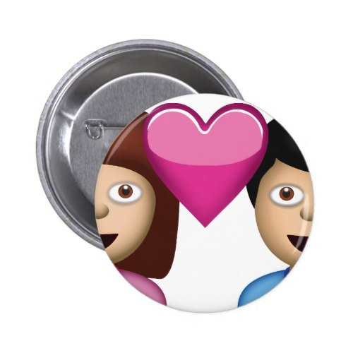 Couple With Heart Emoji Pinback Button