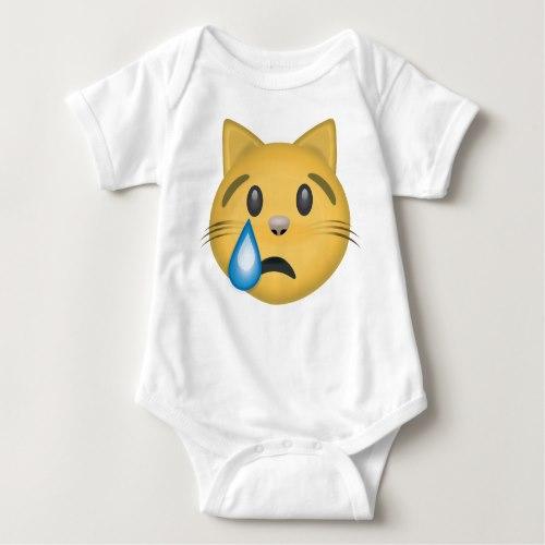 Crying Cat Face Emoji Baby Bodysuit - Buy Online | EmojiPrints