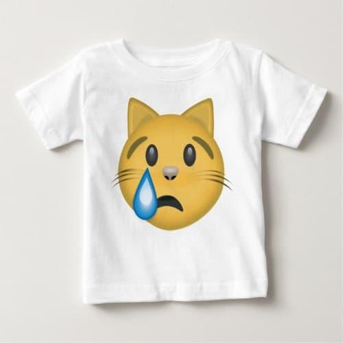 Crying Cat Face Emoji Baby T-Shirt