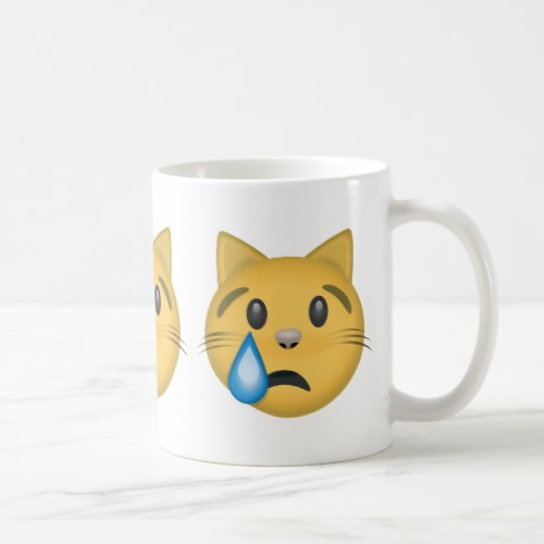 Crying Cat Face Emoji Coffee Mug