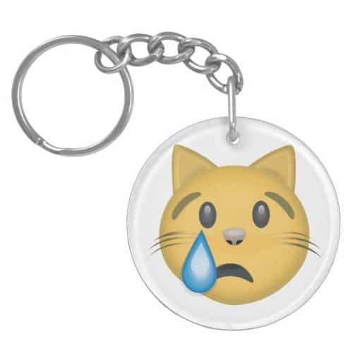 Crying Cat Face Emoji Keychain