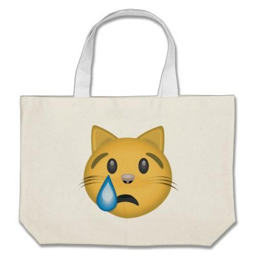 Crying Cat Face Emoji Large Tote Bag