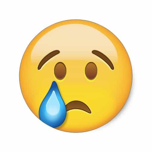 Crying Face Emoji Classic Round Sticker