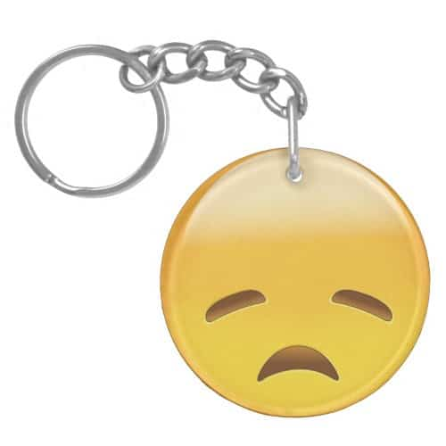 Disappointed Face Emoji Keychain