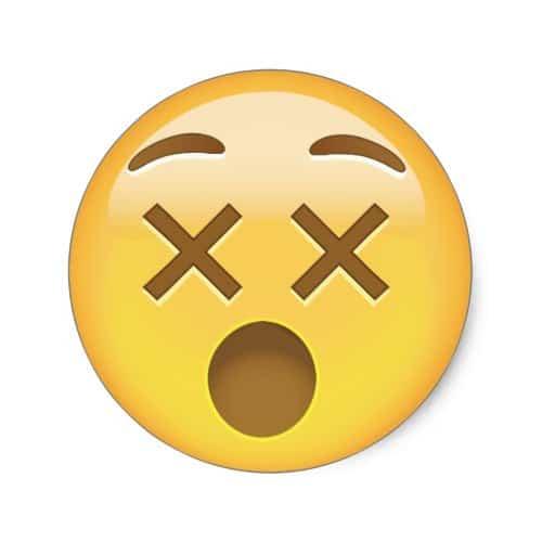 Dizzy Face Emoji Classic Round Sticker