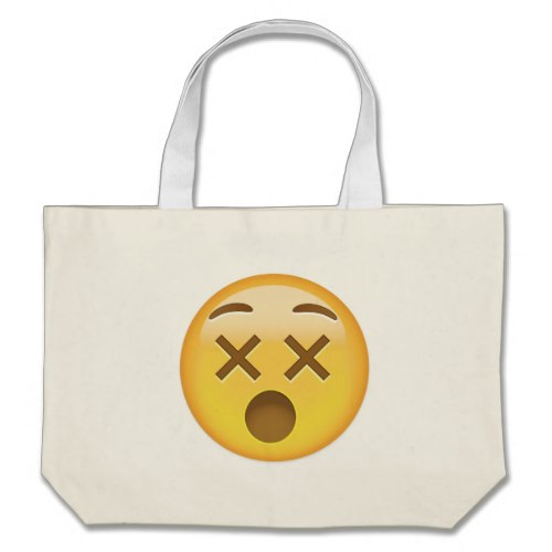 Dizzy Face Emoji Large Tote Bag