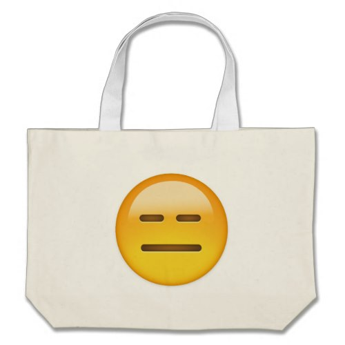 Expressionless Face Emoji Large Tote Bag