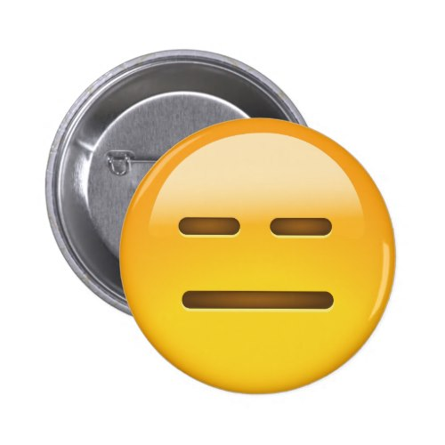 Expressionless Face Emoji Pinback Button