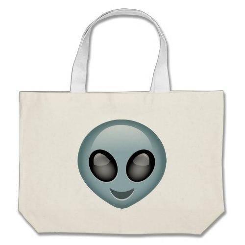 Extraterrestrial Alien Emoji Large Tote Bag