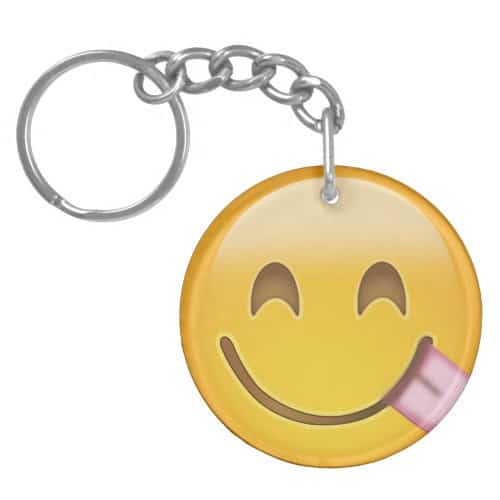 Face Savouring Delicious Food Emoji Keychain