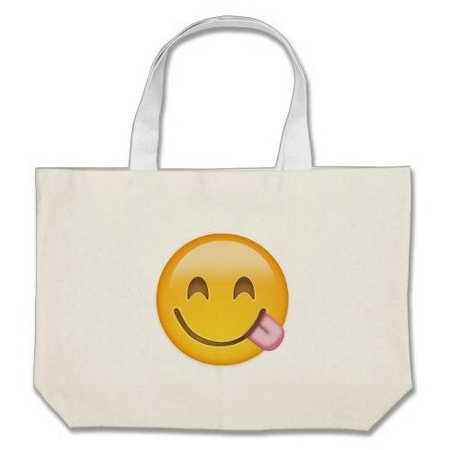 Face Savouring Delicious Food Emoji Large Tote Bag