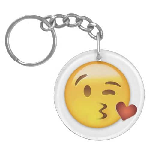 Face Throwing A Kiss Emoji Keychain