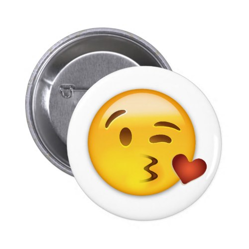Face Throwing A Kiss Emoji Pinback Button