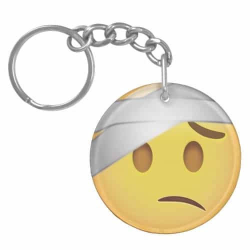 Face With Head-Bandage Emoji Keychain
