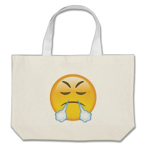 Face With Look Of Triumph Emoji Large Tote Bag