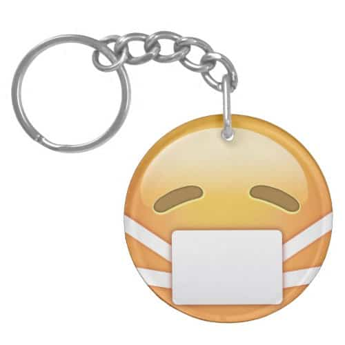 Face With Medical Mask Emoji Keychain