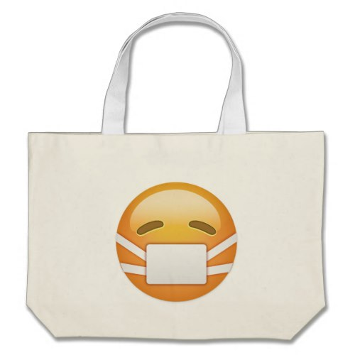 Face With Medical Mask Emoji Large Tote Bag