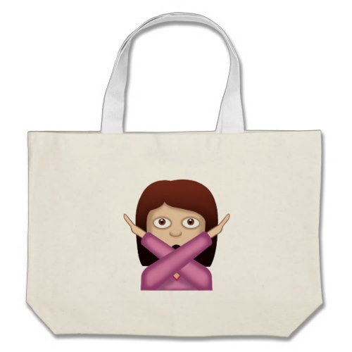 Face With No Good Gesture Emoji Large Tote Bag