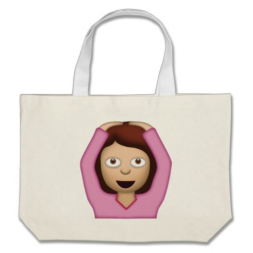 Face With OK Gesture Emoji Large Tote Bag